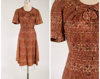 Vintage 1950s Dress • Marmalade Season • Orange Brown Printed 50s Day Dress Size Medium