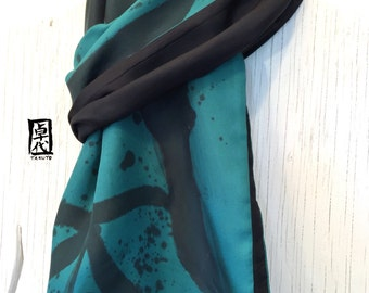 Hand Painted mens scarf silk, Green and Black Scarf, Reversible Scarf Silk, Japanese Elements, Wood, Green, Takuyo, 14x72 inches.