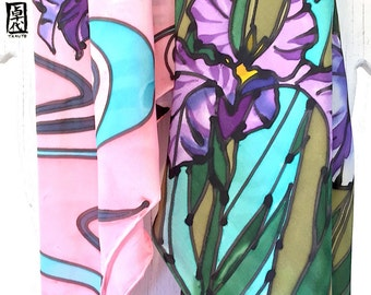 Silk Scarf Square, Hand Painted Silk Scarf, Purple Iris Scarf, Large Square Silk Scarf, Takuyo, 35x35 inches