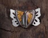 Sterling Silver Jasper earrings-Butterfly Jasper Earrings-Brown Green Jasper Stud Earrings-Japer Jewelry-OOAK