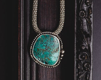 Tibetan Turquoise Necklace-Sterling Silver Turquoise Pendant-Tibetan Turquoise Jewelry-Native American Inspired Pendant-Bridal Necklace