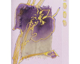 The Purple Iris - blank greeting card for any occasion - lavender iris gold lilac flower floral art original painting batik mixed media OOAK