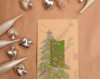 Lime green Christmas tree with pink star - blank greeting card, handmade, art, painting light green fir, pine tree, mauve, pink, silver OOAK