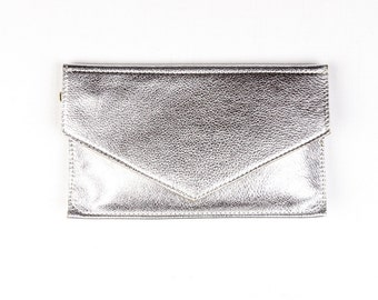 MARY Silver Leather Clutch. Leather Envelope Clutch. Leather Envelope Wallet. Silver Bridesmaid Clutch