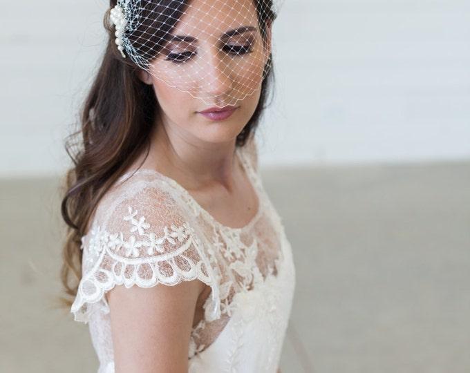Birdcage Veil, Bridal Veil and Pearl Bridal Comb, Bandeau Birdcage Veil, Blusher Bird Cage Veil - Detachable Pearl and Rhinestone Hair Comb