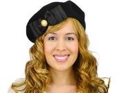 Black French Beret Hat Grosgrain Bow Black Beret Hat Bow Beret Hat Cute Retro Hat Wool Beret Wool Hat Black Ear Warmers Bow Hat Womens Beret