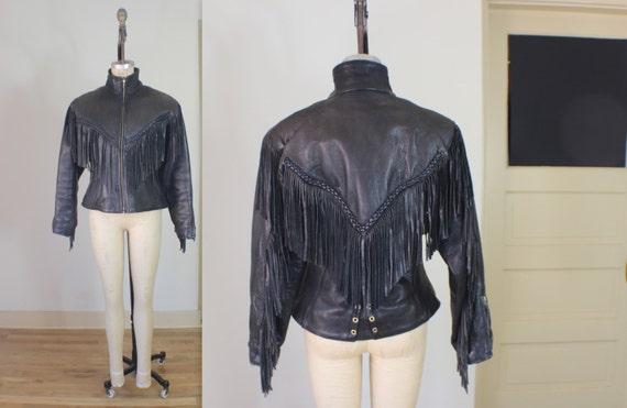 Motorcycle JACKET with FRINGE / Black Leather Vintage Coat / Zippers and Leather Vintage