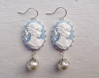 Cameo Earrings/Blue Cameo Earrings Victorian Earrings/Downton Abbey Earrings/Cream Pearl Earrings/Wedgewood Blue Cameo Earrings