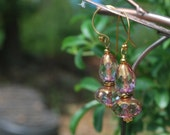 Luminous czech glass earrings, gold earrings, vermeil earrings, SRAJD