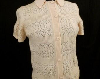 DREAMY CREAM virgin wool cardigan sweater knit top - chevron crochet - sz M L