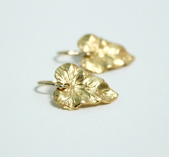 tiny gold leaf earrings dainty delicate nature earrings