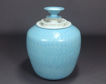 """Ceramic lidded Jar in Turquoise and Matte White. 9"""" T x 6"""" W. Ceramics & Pottery. Wheel Thrown Pottery. Handmade. Stoneware. Cookie Jar."""