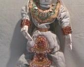 Marionette, Hanuman Hindu Monkey God, Burmese, Myanmar, Yoke The, String Puppet, Vertical Control, Articulated Hands & Lower Lip, Asian Doll