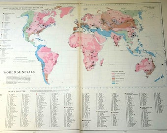 1960s Antique WORLD MINERALS MAP Map of the World pink 1900s atlas regions Map