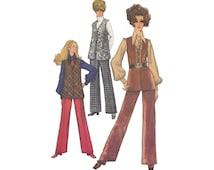 Simplicity 8557 Mod Separates Bust 34 Flared Pants and Long Vest Optional Front Zipper Concealed Pockets Vintage 1960s Sewing Pattern Vest
