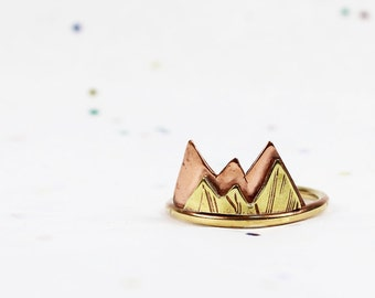 Mixed Metal Mountain Ring - Travel Jewelry - Jeweler's Brass, Copper and Sterling Silver