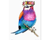 Lilac Breasted Roller in a Floral Crown - A3 Print