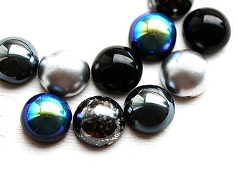 5pc Dome beads mix in Black and Silver, czech glass beads, round, chunky, half sphere, black beads, 14x8mm - 2403