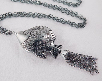 Silver Fish Tassel Necklace - Long Necklace - Gifts under 30