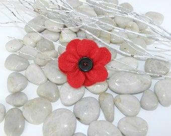 Poppy brooch, Memorial red poppy brooch, Red poppy pin, Memorial poppy brooch, Veterans day red poppy lapel pin, Remembrance day poppy brooc