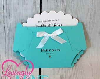 Customizable Baby & Co Diaper Shape Invitations - Set of 10 - Light Teal, Light Aqua, Robin Egg Blue, Designer Inspired, Custom