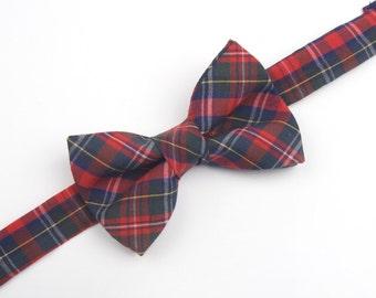 Red, Navy & Green Plaid bow tie, Scottish Tartan bow tie, red plaid bow tie, holiday plaid bow tie, men's bow tie, boy's bow tie, childs tie