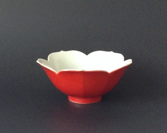 Red Lotus Bowl, Catchall, Chinoiserie Style