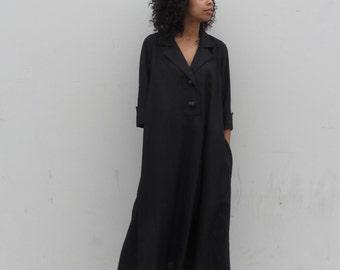 Vintage linen dress Black minimalist linen maxi dress Oversized slouchy lounge dress