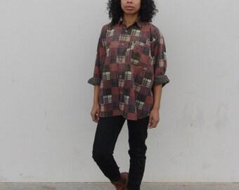 Patchwork button up 90s plaid shirt Corduroy Long sleeve shirt