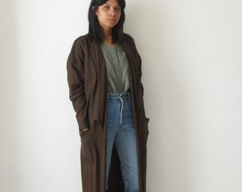Long duster cardigan Vintage brown maxi cardigan 90s Minimalist oversized sweater