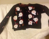 Vintage Ugly Christmas Cardigan Sweater Santa Claus Candy Cane Jingle Bells