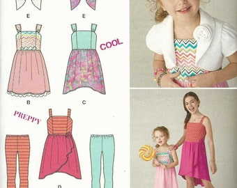 Simplicity 1436 Girls' strappy dress with skirt variations leggings and bolero jacket (uncut) sewing pattern
