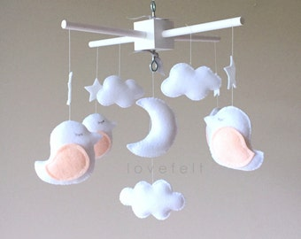 Baby Mobile - Bird Mobile - white and blush Mobile - white and peach mobile - Pick your colors :)