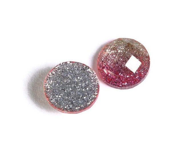 12mm Pink and gold glitter cabochon - sparkly cabochon - Galaxy glitter - 12mm Kawaii cabochon - Earring Finding (1535) - Flat rate shipping