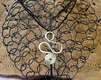 ARTISTIC Silver Aluminum Wire Pendant With Soft Black Suede Necklace - A Touch of Summer To Your Look