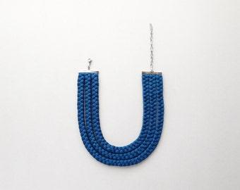 petrol blue necklace, choker, statement neckpiece - The triple braid necklace - handmade in shiny petrol blue fabric