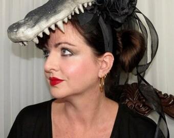 GATOR NIGHT  Gator Skull Skeleton Prehistoric Derby Fantasy Headdress Hair Adornment ooak