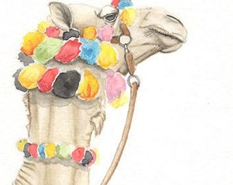 Camel, original watercolor painting, 5x7, art & collectibles, home decor, art, paintings,  earthspalette