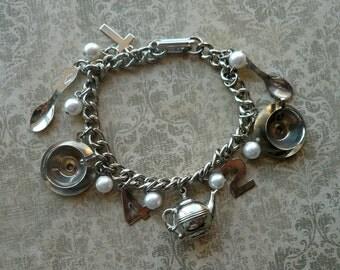 30% OFF Vintage Silver Tea Charm Bracelet - Teacups, Kettle, Tea Pot, Pearls, Vintage Charms - Gift for Tea Lover