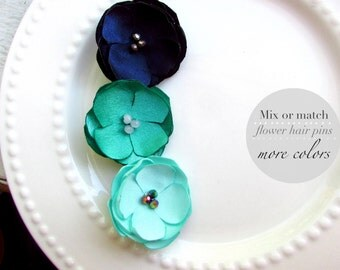 PICK 3 Silk Hair Flowers Small Floral Hair Clip Bridesmaid, Mint & Navy Hair Accessories, Ombre Wedding Flower Hair Pins, Bridal Hairpieces