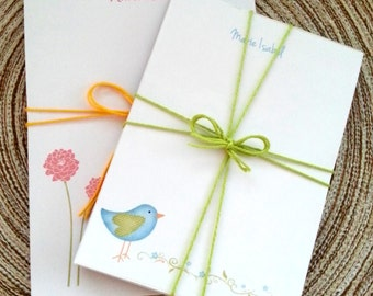 BLUE BIRDIE OR Pom Pom customized 50 sheets Notepads