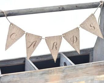 Cards burlap banner sign- burlap wedding bunting banner