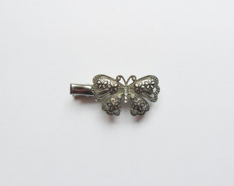 Rhinestone Butterfly Hair Clip, Silver Filigree Butterfly