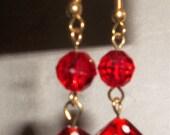 Dice Earrings - Red - Fun Casino Wear jewelry