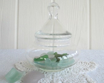 Apothecary Jar ~ Vintage Storage Canister, Clear Glass Container / Country Cottage Shabby Chic Farmhouse Coastal Decor