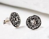 Tiny Stud Earrings, Sterling Silver Stud Earrings, Artisan Earrings, Silver Stud Earrings, Everyday Earrings, Lightweight Earrings