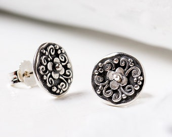 Sterling Silver Stud Earrings, Tiny Stud Earrings, Artisan Earrings, Silver Stud Earrings, Post Earrings, Christmas gifts