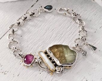 Calcite Bracelet, Tuormaline Bracelet, Gem stone bracelet, Raw stone jewelry, silver and 22k Gold bracelet,  Fine jewelry, fine gold jewelry
