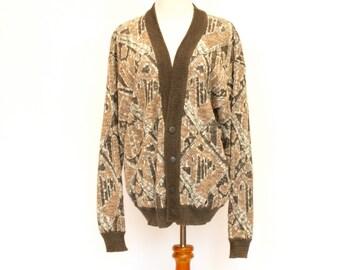 80's Vintage Cardigan Sweater, Grandpa Sweater, Oversized Sweater, Abstract Pattern Sweater