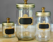 Brass Hardware Mason Jar Storage Canisters for Kitchen, Set of Three with Chalkboard Labels with Gold Frames